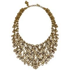 "Monet 1974 ""Mandira"" Collection Gold Bib Necklace"