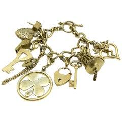 Monet 75th Antiqued Gold Anniversary Statement Talisman Charm Bracelet 2000s