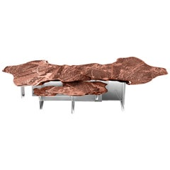 Monet Center Table with Copper Leaf over Aluminum Top and Acrylic Base