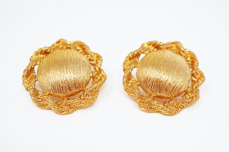 Modern Textured Statement Earrings by Monet, Signed, circa 1955 For Sale