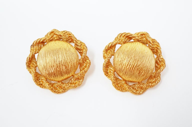 Textured Statement Earrings by Monet, Signed, circa 1955 In Excellent Condition For Sale In Los Angeles, CA