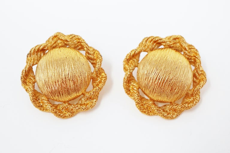 Women's Textured Statement Earrings by Monet, Signed, circa 1955 For Sale
