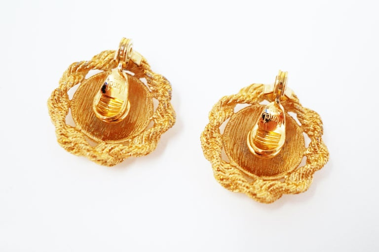 Textured Statement Earrings by Monet, Signed, circa 1955 For Sale 1