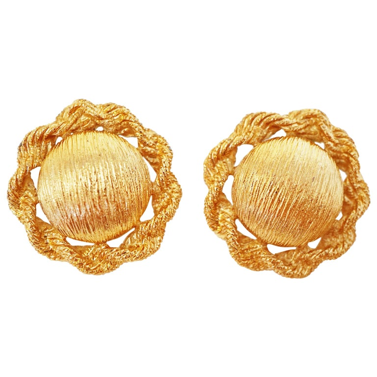 Textured Statement Earrings by Monet, Signed, circa 1955 For Sale