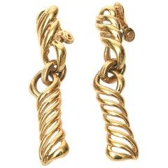 Monet Gold Plated Dangle Clip On Earrings