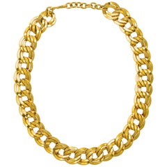 Monet Gold Plated Double Link Chain Statement Necklace circa 1980s