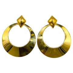 Monet Gold Plated Earrings Vintage, 1980s