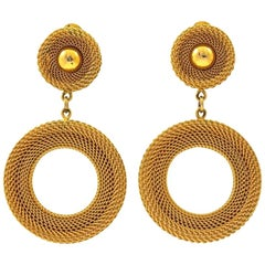 Monet Gold Plated Mesh Hoop Clip On Statement Earrings circa 1980s