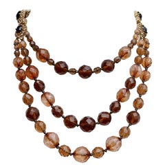Monet Gold Plated Multi Triple Strand Brown Glass Bead and Chain Necklace