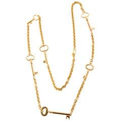 Monet Gold Tone Keys Sautoir Necklace