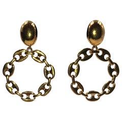 Monet Gucci Style Link Round Pierced Earrings
