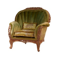 Monet Italian Armchair in Hand Carved Wood and Velvet Green Fabric by Zanaboni