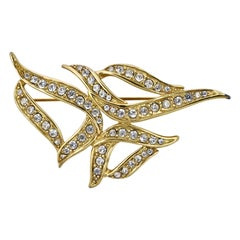 Monet Large Gold Plated and Clear Rhinestone Brooch circa 1980s