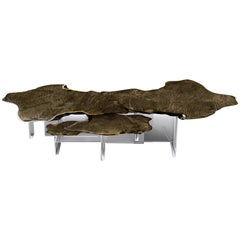 Monet Center Table with Polished Casted Brass With Patina Top And Acrylic Base