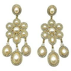 Monet Pearl & Crystal Cascade Earrings 2000s