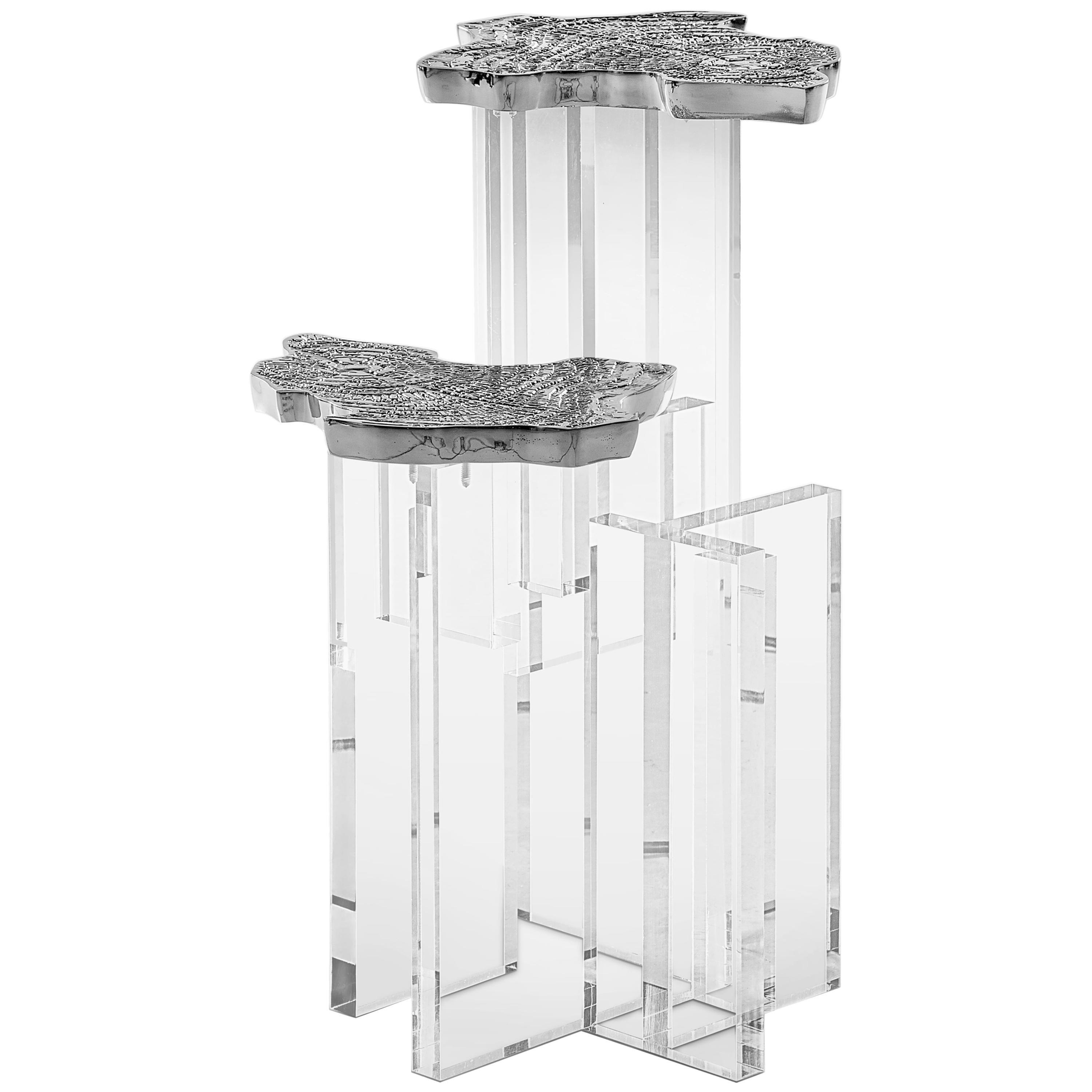 Monet Side Table with Casted Aluminum Top and Acrylic Base