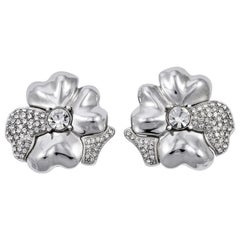 Monet Silver Tone and Rhinestone Flower Clip On Statement Earrings circa 1980s