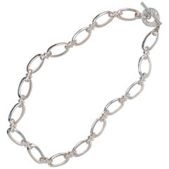 Monet Vintage Silver Chunky Chain Necklace with Branded Toggle Clasp