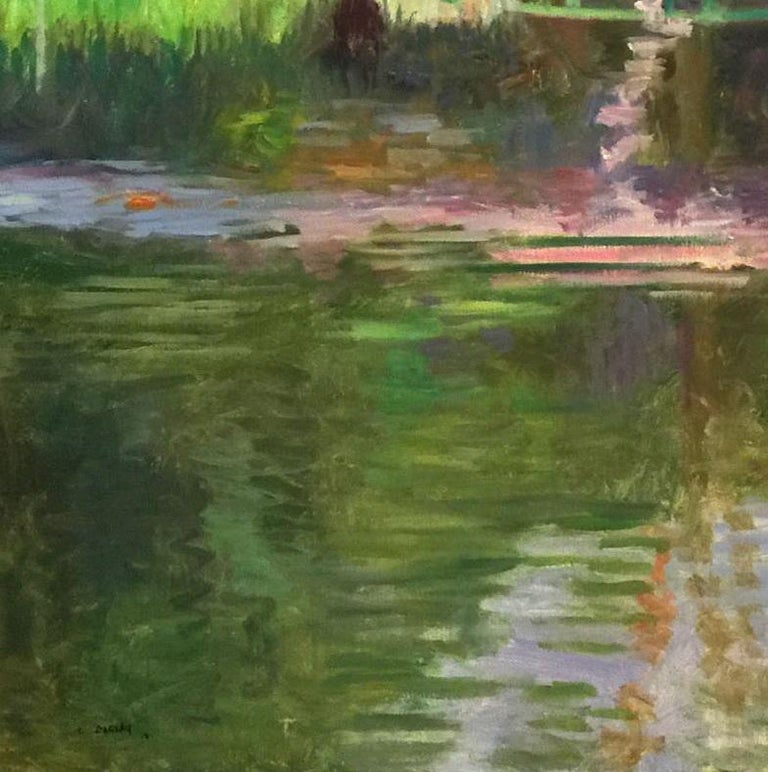 An original oil painting of the bridge from Monet's garden in Giverny.  Laurent Dareau received his Masters of painting from the National Superior Decorative Art School in Paris, and his formal training from the National Fine Art School in Lyon.