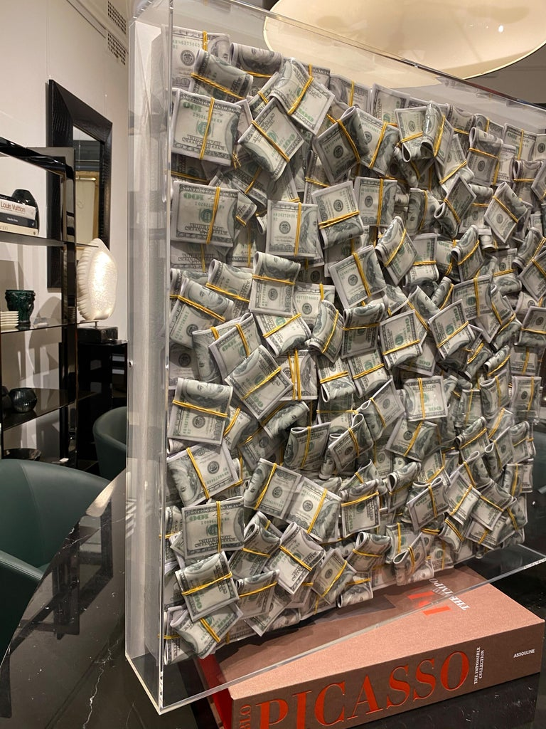 European Money Painting Contemporary Wall Art Sculpture Dollar Bills with Epoxy For Sale