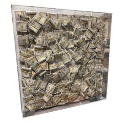 Money Painting Contemporary Wall Art Sculpture Dollar Bills with Epoxy