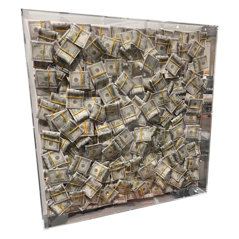 Money Painting Contemporary Wall Art Sculpture Dollar Bills with Epoxy For Sale