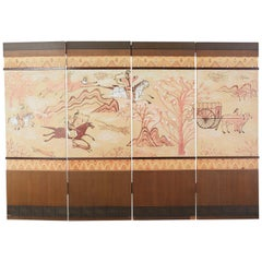 Mongolian Hunters Four Panel Painted Screen from Korea