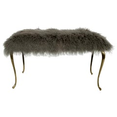 Mongolian Fur Bench with Brass Cabriolet Legs