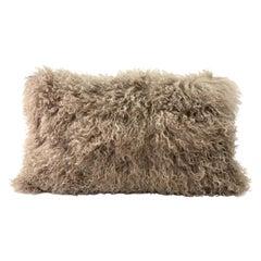 Mongolian Fur Pillow Lumbar, Brown Hazelnut