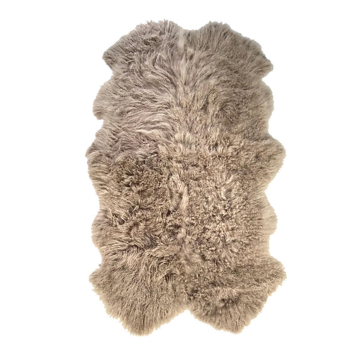 Mongolian Fur Sheepskin Throw Rug, Hazelnut