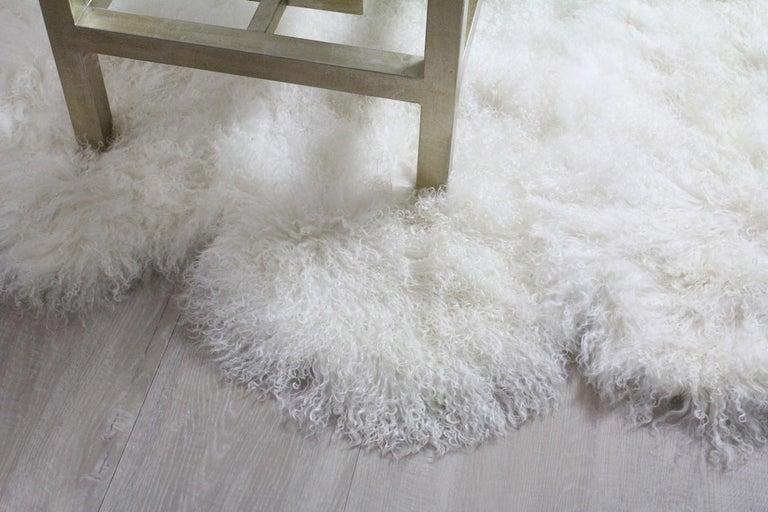 Australian Mongolian Fur Throw Rug, Mongolian Sheepskin in Natural White For Sale