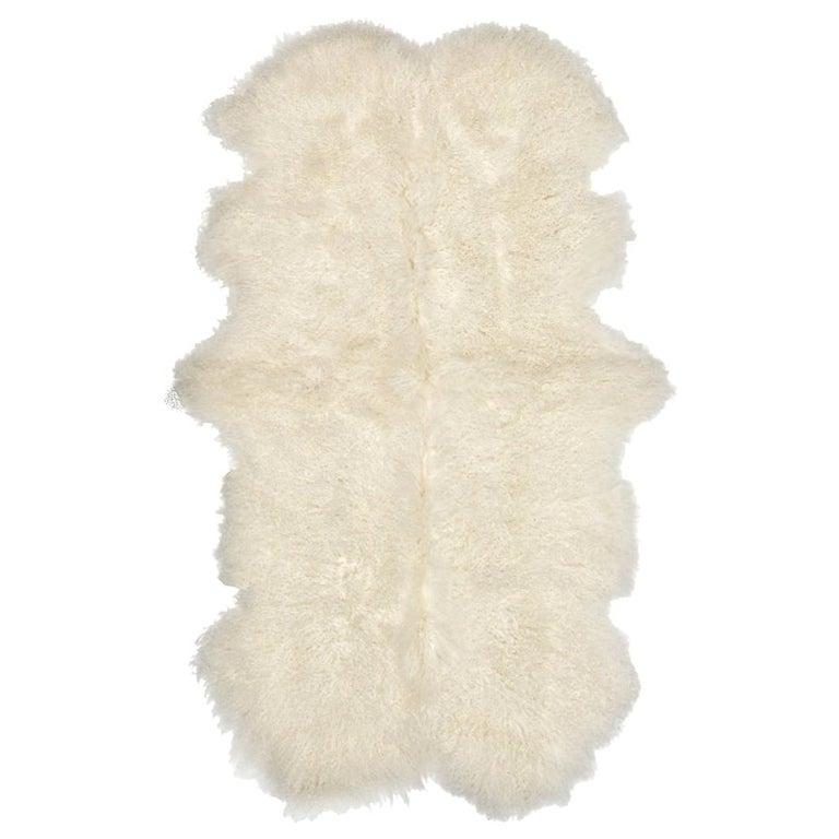 Mongolian Fur Throw Rug, Mongolian Sheepskin in Natural White For Sale