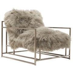 Mongolian Grey Sheepskin and Antique Nickel Armchair
