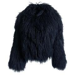 Mongolian Lamb Fur Jacket Louis Feraud for Saks Fifth Avenue Vintage 90s