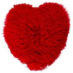 Mongolian Lamb Heart Pillow-Red