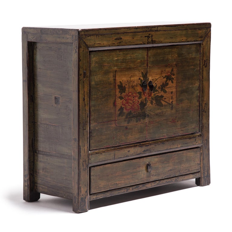 Pine Mongolian Spring Blossom Painted Chest For Sale