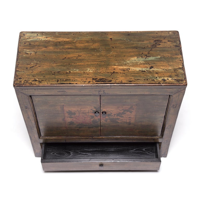 Mongolian Spring Blossom Painted Chest For Sale 2