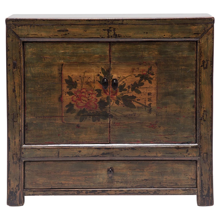 Mongolian Spring Blossom Painted Chest For Sale