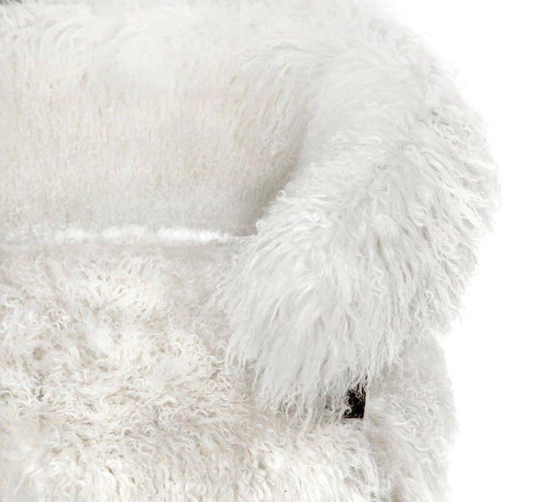 Modern Mongolian White Sheepskin Armchair In Bronze Frame For Sale