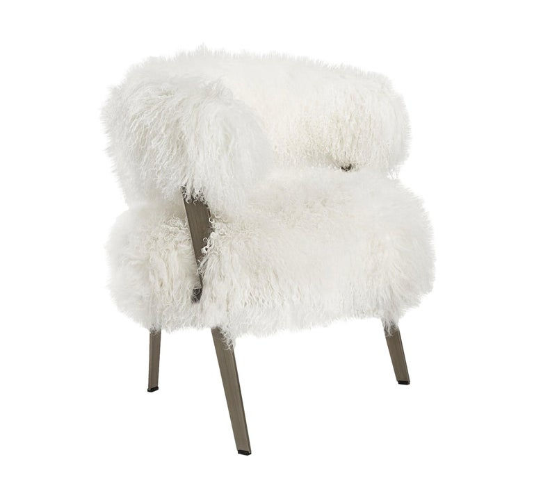 Mongolian White Sheepskin Armchair In Bronze Frame For Sale