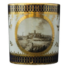 Mongrammed RR Landscape Coffee Can, Chamberlain Worcester, circa 1810