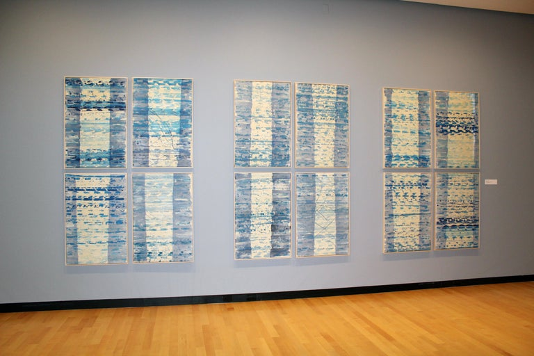 A Set of 12 Contemporary Framed Abstract Paintings Blue White Museum Collection For Sale 1