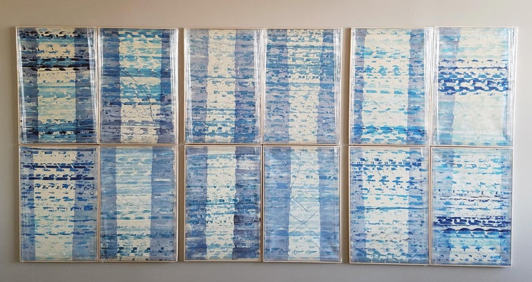 A Set of 12 Contemporary Framed Abstract Paintings Blue White Museum Collection For Sale 2