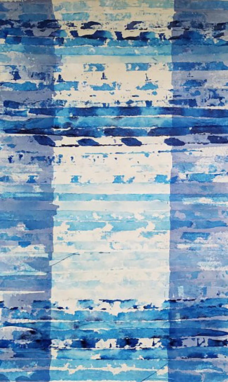 A Set of 12 Contemporary Framed Abstract Paintings Blue White Museum Collection For Sale 3