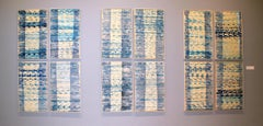 A Set of 12 Contemporary Framed Abstract Paintings Blue White Museum Collection