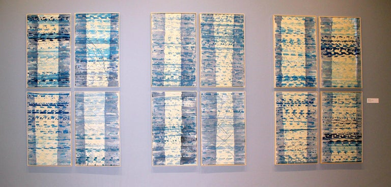 A set of 12 original mixed media monotype and painting mixed media works by American contemporary artist Monica Angle.  These pieces were inspired by the changing light throughout the year, as we experience it at the time and in our memory.   The