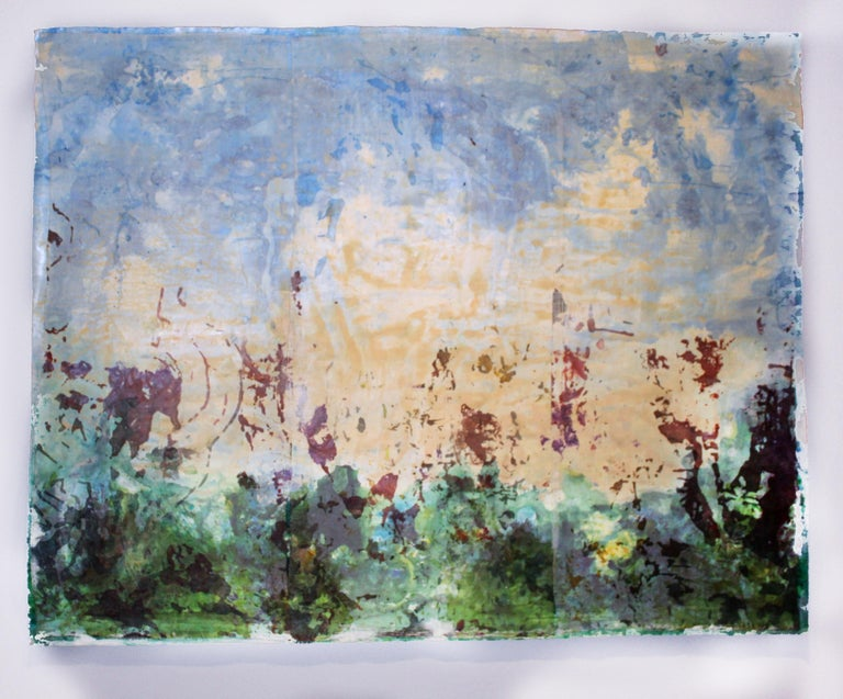 An original mixed media monotype and painting by American contemporary artist Monica Angle.  This work was featured in a major exhibition for the artist at the Burchfield Penney Art Center in Buffalo, NY.  WORKING ON THE SEAM: MONICA ANGLE On View