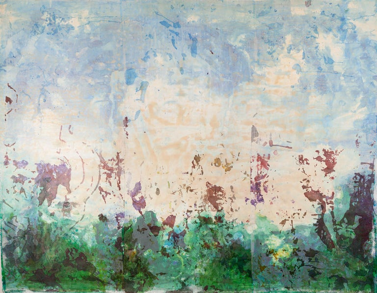 Monica Angle Abstract Painting - Contemporary American Abstract Expressionist Landscape Painting Japanese screen