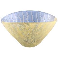 Monica Backström for Kosta Boda, Large Bowl, Yellow and Blue Glass