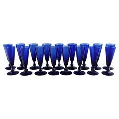 Monica Bratt for Reijmyre, 17 Small Cocktail Glasses in Blue Mouth Blown Glass